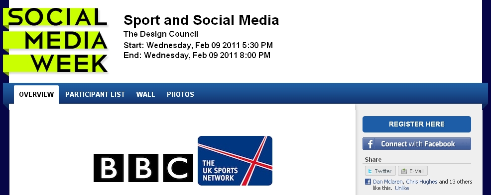 Social Media & Sport Event – 9th Feb, London