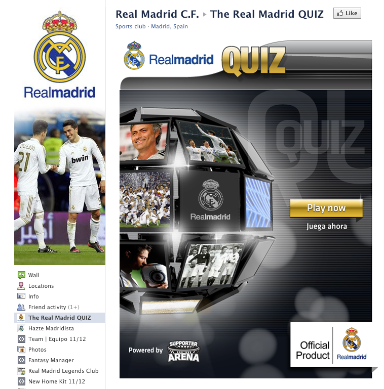 Real Madrid Launch Facebook Quiz App
