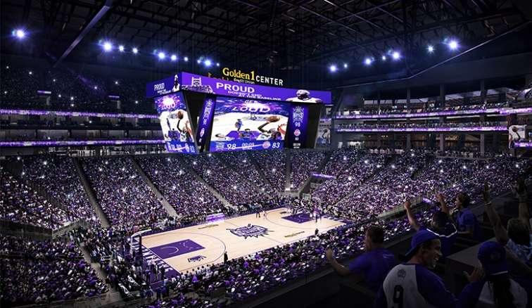 An Ultra 4K HD Center-Hung Video Board in new Sacramento Kings' arena