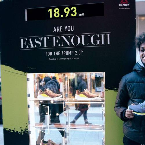 Shoe company ad unlocks shoes for the fastest runner