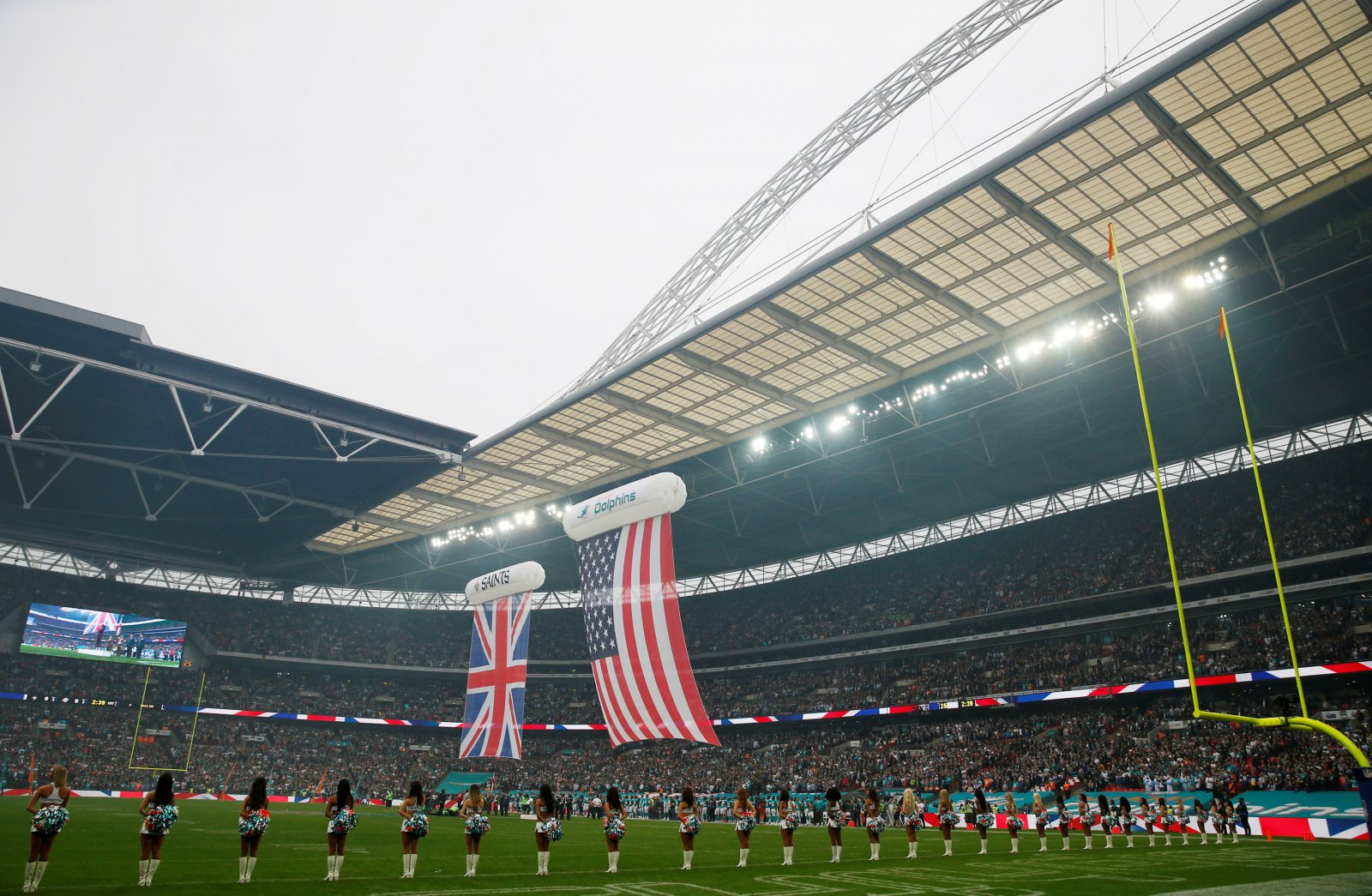 UK and US flags at Wembley for NFL game
