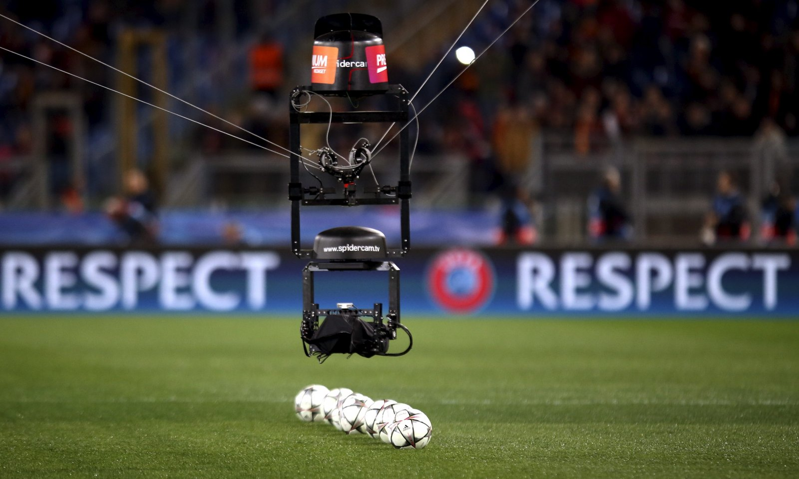 Spider TV Camera before a UEFA Champions League match