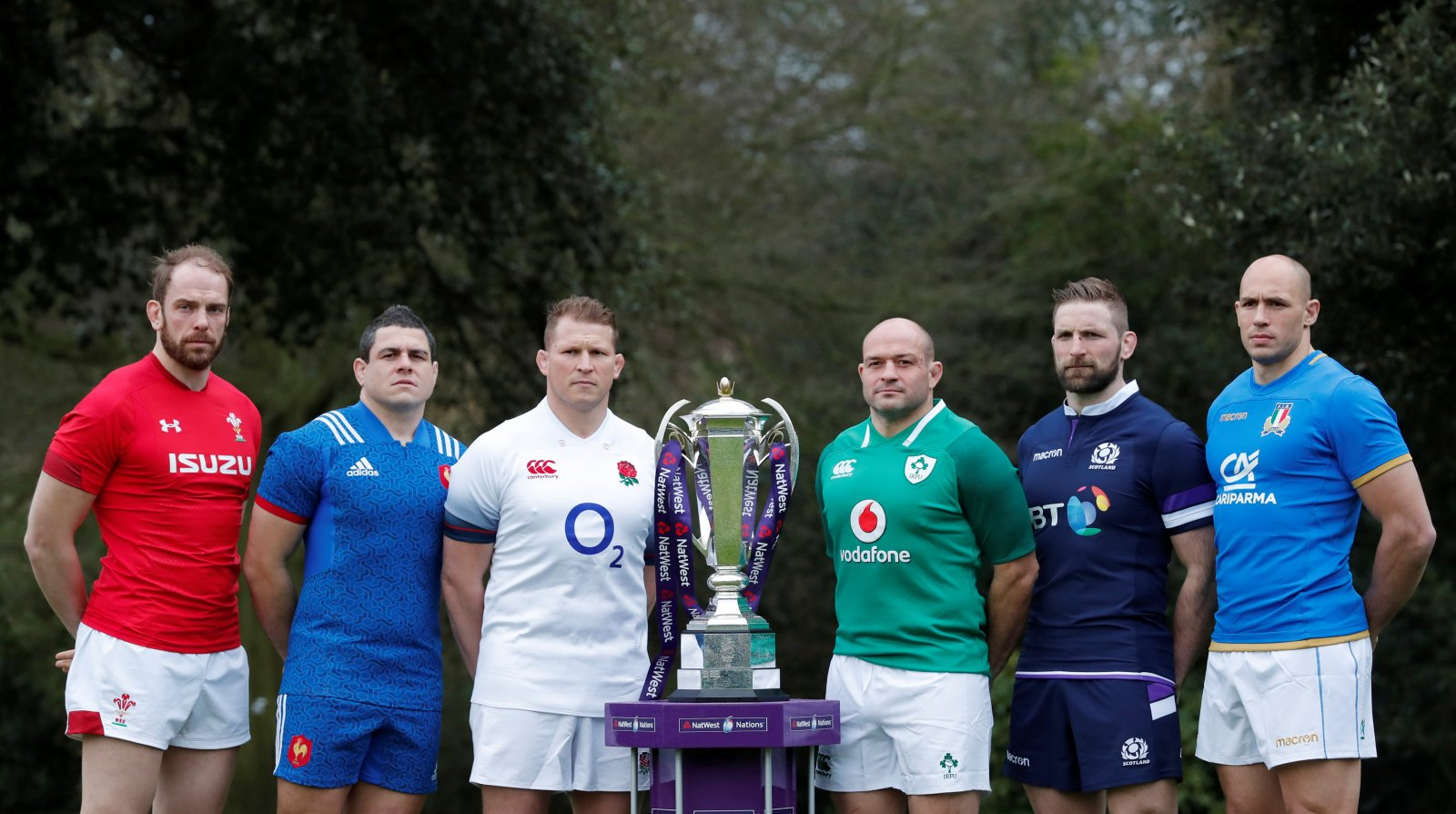 Six Nations captains with the trophy