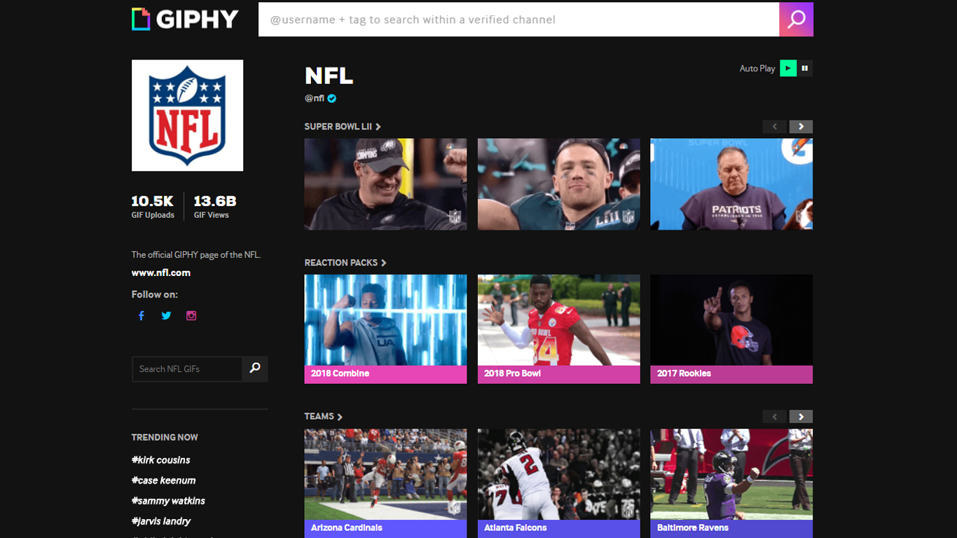NFL's GIPHY channel