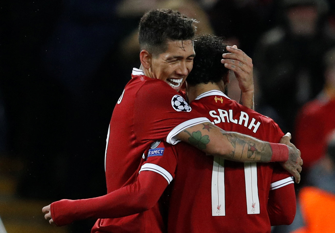 Roberto Firmino and Mohamed Salah for Liverpool against Roma