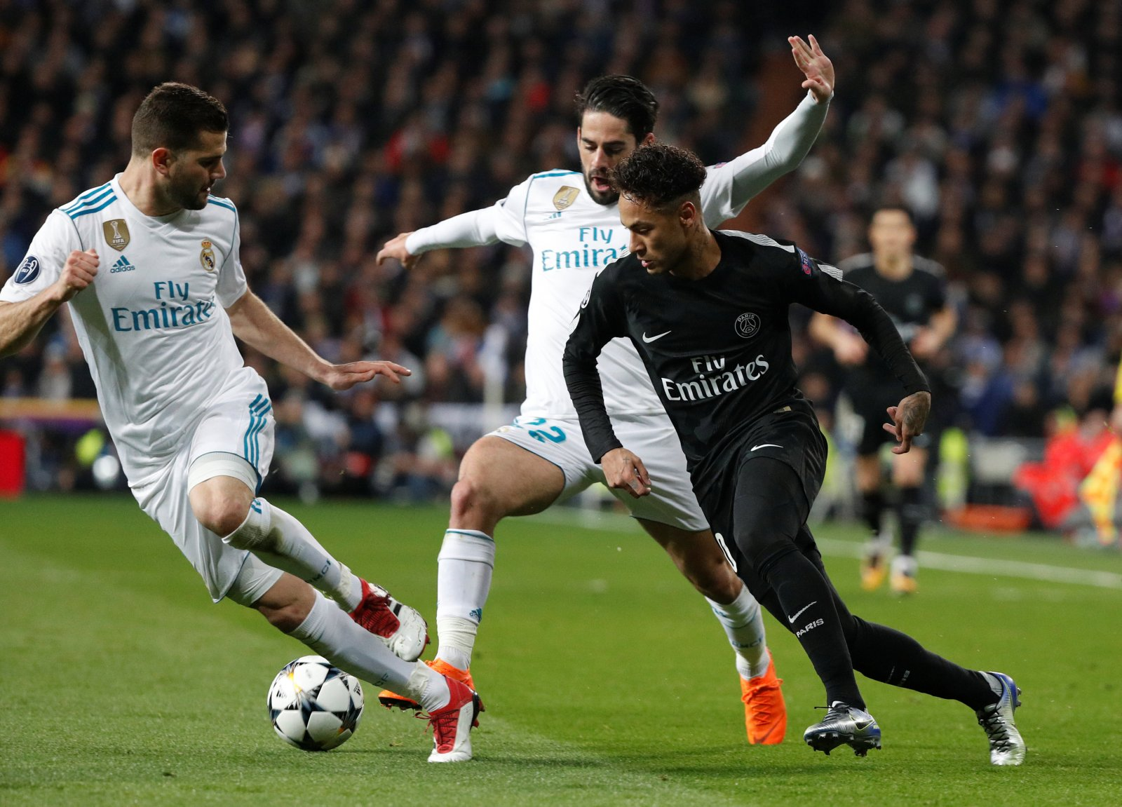 PSG's Neymar takes on Real Madrid in the Champions League