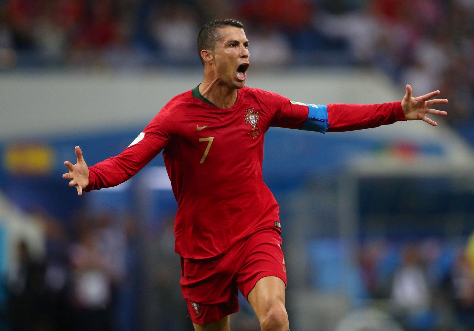 Cristiano Ronaldo celebrates scoring a hat trick against Spain at the 2018 World Cup