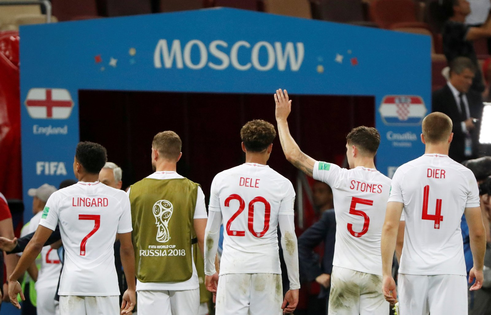 England players after defeat to Croatia World Cup 2018