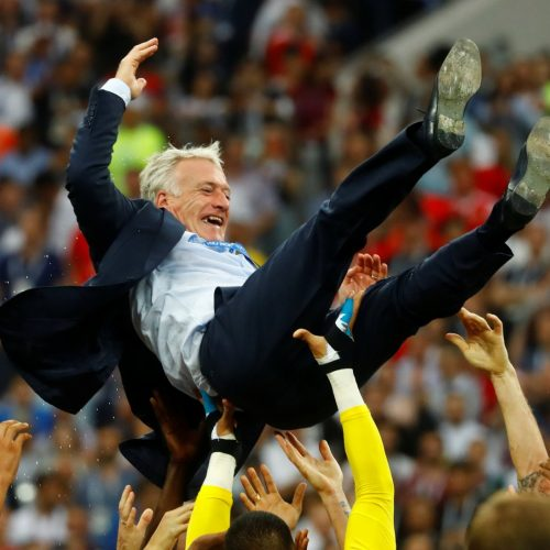 Candid shots of celebrating Didier Deschamps shows why the internet loves reaction videos