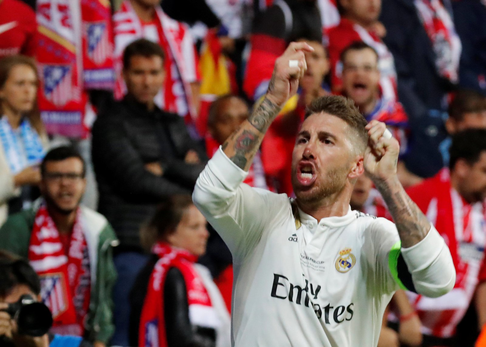 Sergio Ramos celebrates scoring against Atletico Madrid at the UEFA Super Cup 2018